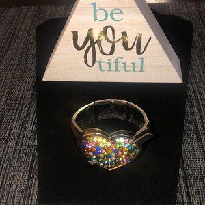 Jewelry - Costume jewelry, stretch heart bracelet
